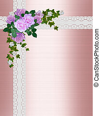 Satin and lace Pink roses - Image and illustration...