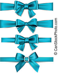 Set of blue satin bows. Vector ribbons for gift. Eps10.