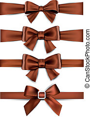 satin, bows., ribbons., brun, cadeau