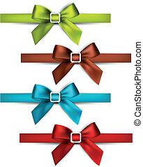 Satin color ribbons. Gift bows. - Set of colorful satin bows...