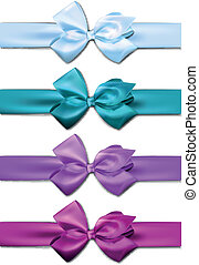 Satin color ribbons. Gift bows. - Set of colorful satin...