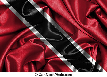 Satin flag, three dimensional render, flag of Trinidad and...