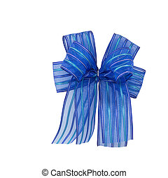 Satin gift bow. blue ribbon isolated on white with clipping path