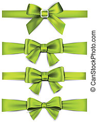 Set of green satin bows. Vector ribbons for gift. Eps10.