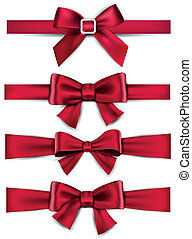 Set of red satin bows. Vector ribbons for gift. Eps10.
