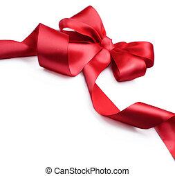 satin, ribbon., isolé, bow., cadeau, blanc rouge