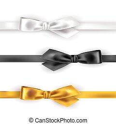 Satin ribbon on white background