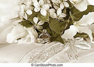 satin, wedding, kissen