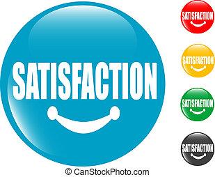 satisfação, botão, quadrado, sinal