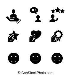 satisfação, cliente, fundo branco, ícones, pretas