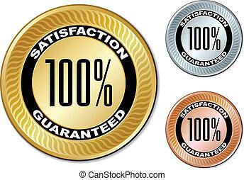 satisfação, etiquetas, guaranteed, vetorial