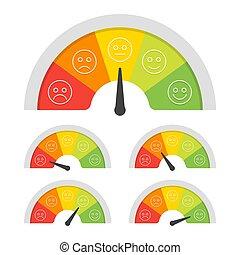 satisfação freguês, medidor, com, diferente, emotions., vetorial, ilustração