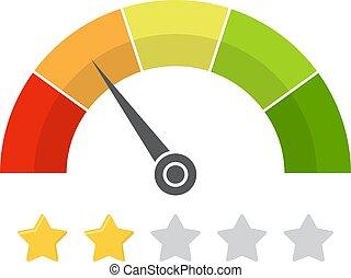 satisfação freguês, medidor, com, estrela, rating., vetorial, ilustração
