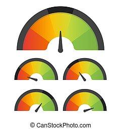 satisfação freguês, medidor, velocímetro, set., vetorial, ilustração
