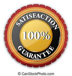 satisfação, logotipo, 100%, guaranteed