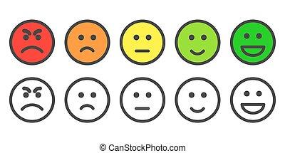 satisfação, taxa, nível, emoji, ícones