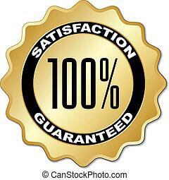 satisfação, vetorial, guaranteed, etiqueta