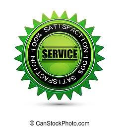 satisfacción, 100%, etiqueta, servicio