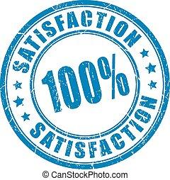 satisfacción, caucho, garantía, estampilla