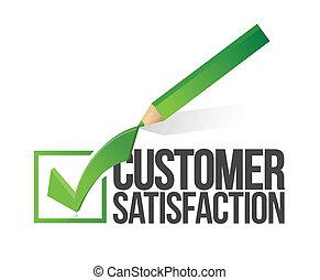 satisfacción del cliente, checkmark, y, lápiz