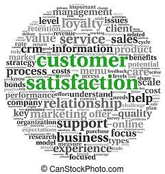 satisfacción del cliente, concepto, blanco