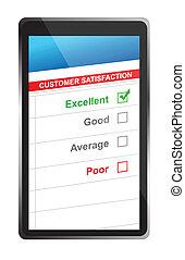 satisfacción del cliente, en línea, selección, tableta, pc.