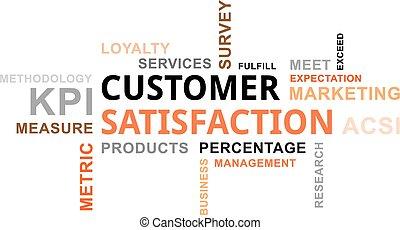 satisfacción del cliente, -, nube, palabra