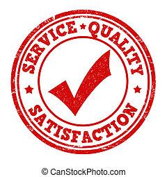 satisfacción, estampilla, calidad, servicio