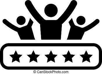 satisfacción, plano, icon., cliente, design.
