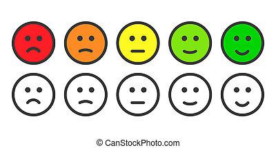satisfacción, tasa, nivel, emoji, iconos