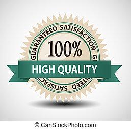 satisfacción, vector, guaranteed, ilustración, etiqueta