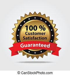 satisfaction client, écusson, rouges, or