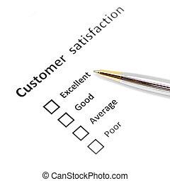 satisfaction client, stylo, enquête, formulaire