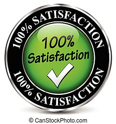 satisfaction design icon - illustration of black and green...