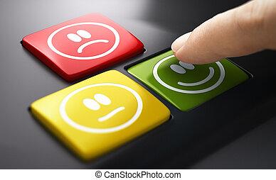 satisfaction., direct, enquête, poussée, service, client, bouton, mesure