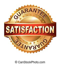 Satisfaction golden label with ribb