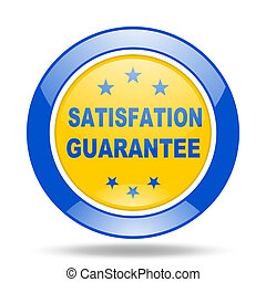 satisfaction guarantee blue and yellow web glossy round icon