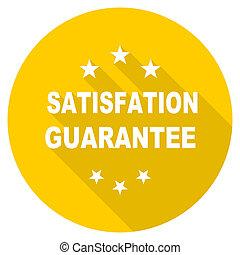 satisfaction guarantee flat design yellow web icon