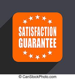 Satisfaction guarantee orange flat design web icon isolated on gray background