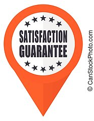 Satisfaction guarantee orange pointer vector icon in eps 10 isolated on white background.