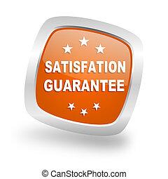 satisfaction guarantee square orange glossy chrome silver metallic web icon