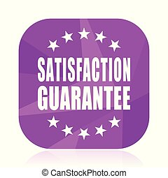 Satisfaction guarantee violet square vector web icon. Internet design and webdesign button in eps 10. Mobile application sign on white background.