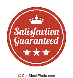 Satisfaction guaranteed badge on white background.