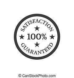 Satisfaction guaranteed badge on white background.