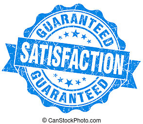 satisfaction guaranteed blue grunge seal isolated on white