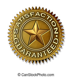 Satisfaction Guaranteed gold seal with star rating on a...
