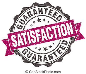 satisfaction guaranteed grunge violet seal isolated on white