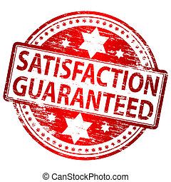 "Rubber stamp illustration showing ""SATISFACTION GUARANTEED"" text"