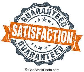 satisfaction guaranteed vintage orange seal isolated on...
