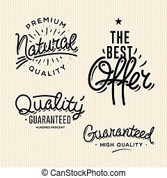 Satisfaction guaranteed vintage premium quality black labels, badges, logo, set, vector illustration.
